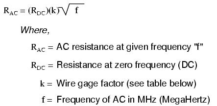 Lessons in electric circuits volume ii ac chapter 3 the following table gives approximate values of k factor for various round wire sizes greentooth Choice Image